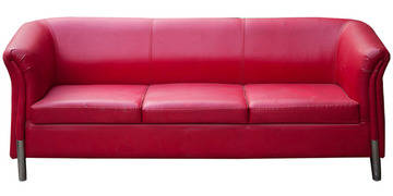 Three Seater Sofa In Red Colour By Karigar