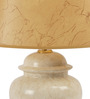 The 7th Galaxy Modern Beige Ceramic & Parchment Table Lamp