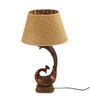 The 7th Galaxy Eclectic Brown Peacock Design Polyresin & Parchment Table Lamp