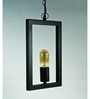 The Black Steel Black Iron Rectangle Frame Industrial Pendant