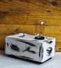 The Black Steel White Wood Desk Lamp