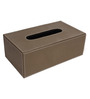 The Decor Mart Taupe Faux Leather Tissue Box