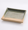 The Himalayan Goods Company Green Stoneware 6 x 6 Inch Serving Tray