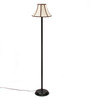 The Light House Striped Shade Black Metal Floor Lamp