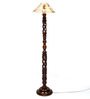 The Light House Khadi Gold Twisted Wood Floor Lamp