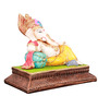 The Nodding Head Multicolor Polyresin Lord Ganesha Resting on Pillow