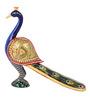 The Nodding Head Multicolour Wooden Painted Big Standing Peacock Figurine Showpiece