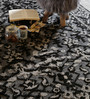 The Rug Republic Black & Grey Wool & Viscose Hand Knotted Indian Ethnic Carpet