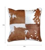 The Rug Republic Brown & White Natural Hide 18 x 18 Inch Oxford Cushion Cover with Insert