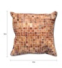 The Rug Republic Brown Natural Hide 18 x 18 Inch Mosaic Cushion Cover with Insert