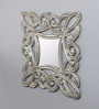 The Yellow Door Antique Silver Wooden Hand Carved Square Wall Mirror