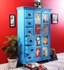 Daft Solid Wood Wardrobe in Azure Blue Finish by Bohemiana