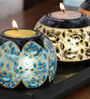 Ethnic Clock Makers Multicolour Solid Wood Tea Light Holder - Set of 3