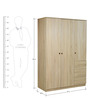 Shikotsu Three Door Wardrobe with Drawers in Natural Finish by Mintwud