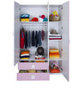 Three Door Wardrobe with Two Drawers in Pink Colour by Alex Daisy