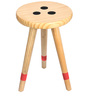 Three Legged Pine Wood End Table with Red Accent by SmalShop