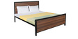 Ticino Metal Queen Sized Bed In Walnut Finish by Inscape Design
