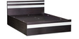 Tiffany Queen Bed with Box Storage in Wenge Matt & Silver Finish by Debono