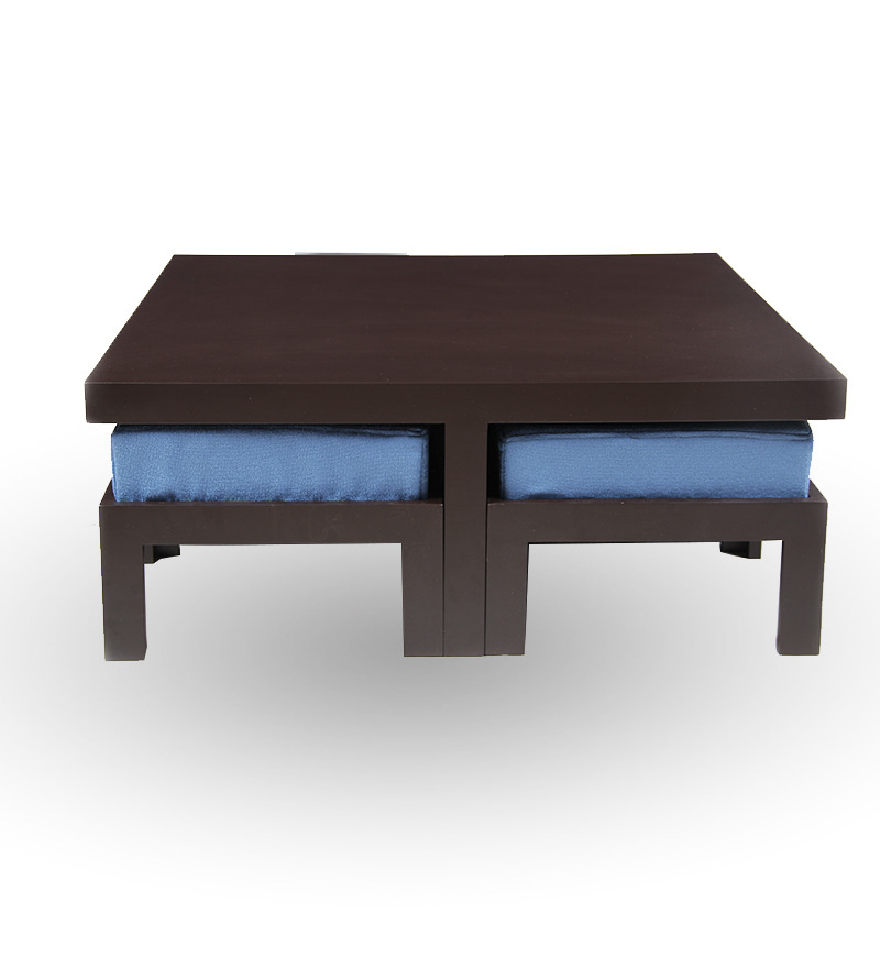 trendy coffee table with four stools blue by purple heart