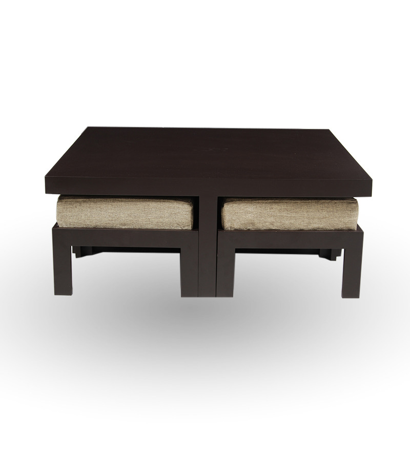 Trendy coffee table with four stools jute by purple heart for Trendy furniture