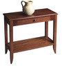 Transitional Console with Slatted Base and Shallow Drawer in Brown Colour by AfyDecor