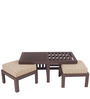 Trendy Coffee Table Set with Two Stools in Brown Check Colour by ARRA