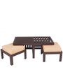 Trendy Coffee Table Set with Two Stools in Red Check Colour by ARRA