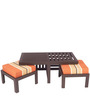 Trendy Coffee Table Set with Two Stools in Rust Lines Colour by ARRA