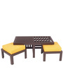 Trendy Coffee Table Set with Two Stools in Yellow Colour by ARRA