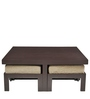 Trendy Coffee Table with Four Jute Cushioned Stools by ARRA