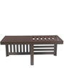Trendy Coffee Table with Two Red Cushioned Stools by ARRA