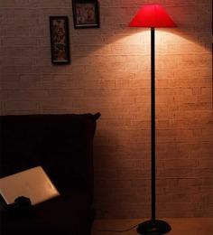 The Light House Orange Shade Black Metal Floor Lamp
