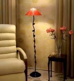 Tu Casa Leaf Design Floor Lamp With Pink Printed Shade Metal Floor Lamp