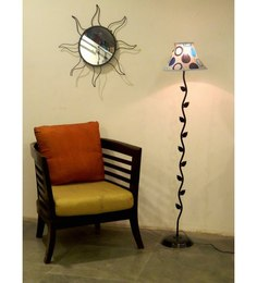 Tu Casa Leaf Design Floor Lamp With Multi-coloured Circle Print Poly Silk Shade