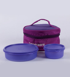 Tupperware New Classic Purple Plastic Lunch Box With Insulated Bag - Set Of 2