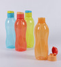 Tupperware Multicolor Plastic Round 1000 ML Fliptop Bottle - Set of 6