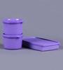 Tupperware Purple Plastic Snacking Set - Set Of 3