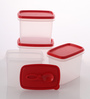 Tupperware Red Rectangle 800 ML Container - Set of 4