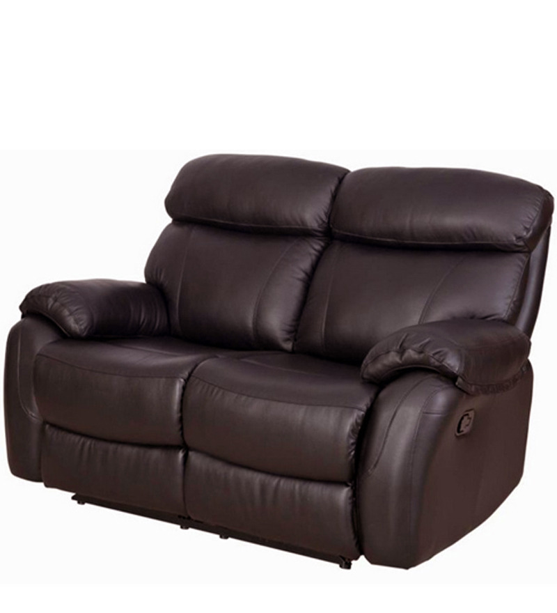 Leather Sofa Sale India: Two Seater Pure Leather Recliner Sofa In Brown Colour By