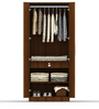 Two Door Compact Wardrobe in PLPB with Classic Walnut Finish by Primorati