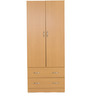 Narahiko Two Door Wardrobe with Two Drawers in Beech Finish by Mintwud