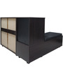 Two Piece Corner Storage Setting with Shoe Rack in Walnut Colour by Eros