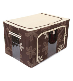 UberLyfe Brown Polyester With Steel Frame Clothes Storage Box - 1484743