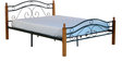 Umame Queen Size Metal Bed with Wooden Post in Black & Oak Finish by Mintwud