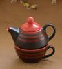 Unravel India Multicolour Wood & Ceramic Single Tea Pot Set - Set of 3