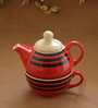 Unravel India Multicolour Wood & Ceramic Single Tea Pot Set - Set of 3