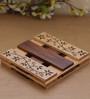 Unravel India Wooden Handcarved Brown Trivet - Set of 2