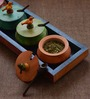 Unravel India Five Wooden Multicoloured Jars With Base Tray and Spoons