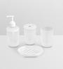 Upasana White Polypropylene Accessory Set - Set of  4