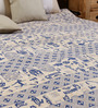 Uttam Cartoon Batik Print Single-Size Cotton Bedsheet in White & Blue